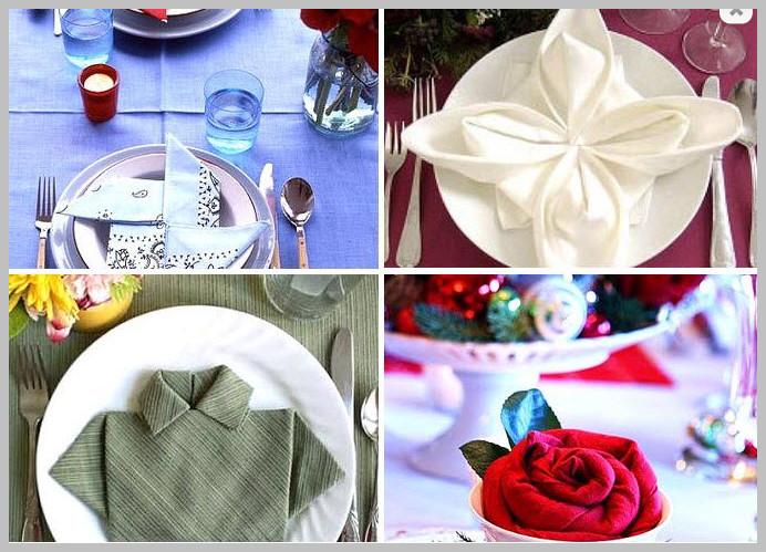 Как красиво сложить салфетки на столе: фото идеи