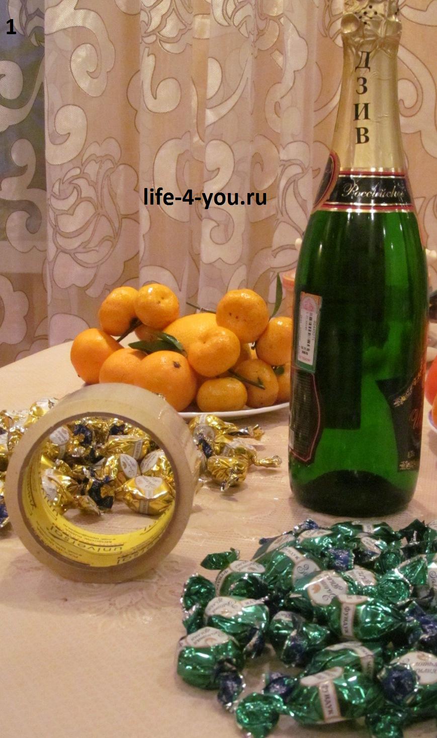 Новогодние подарки своими руками: мастер класс Ёлочка из конфет